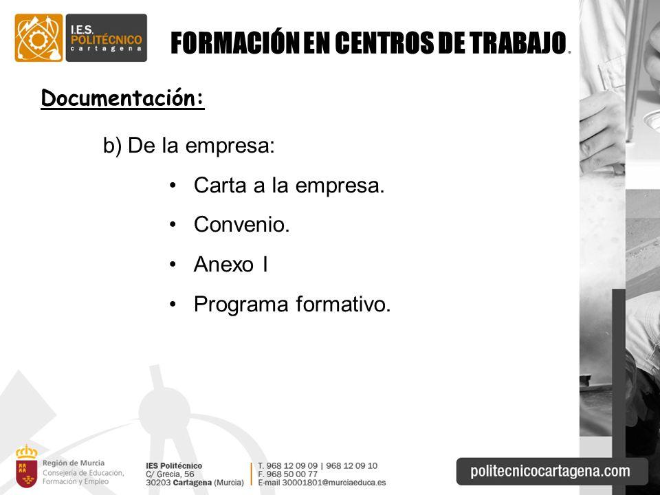 FORMACIÓN EN CENTROS DE TRABAJO.Documentación: b)De la empresa: Carta a la empresa.