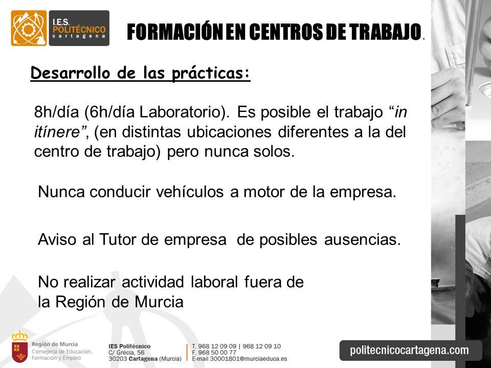 FORMACIÓN EN CENTROS DE TRABAJO.Desarrollo de las prácticas: 8h/día (6h/día Laboratorio).