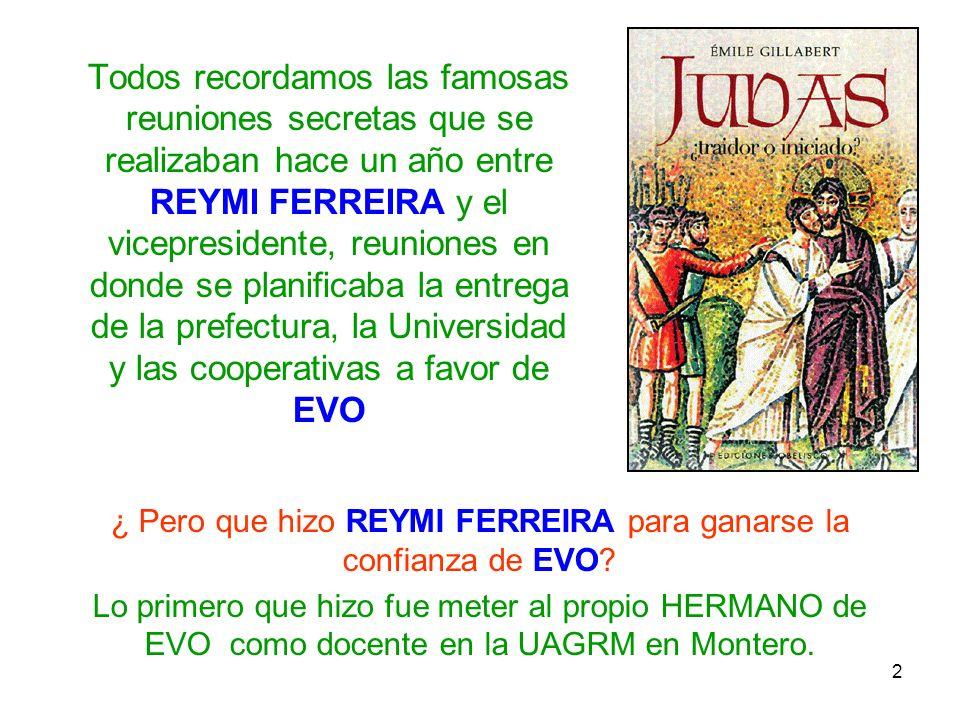 2 Todos recordamos las famosas reuniones secretas que se realizaban hace un año entre REYMI FERREIRA y el vicepresidente, reuniones en donde se planif