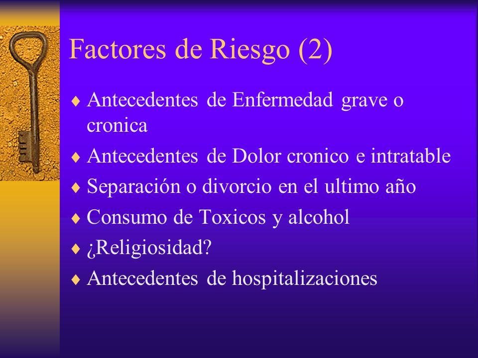 Factores de Riesgo (2) Antecedentes de Enfermedad grave o cronica Antecedentes de Dolor cronico e intratable Separación o divorcio en el ultimo año Co
