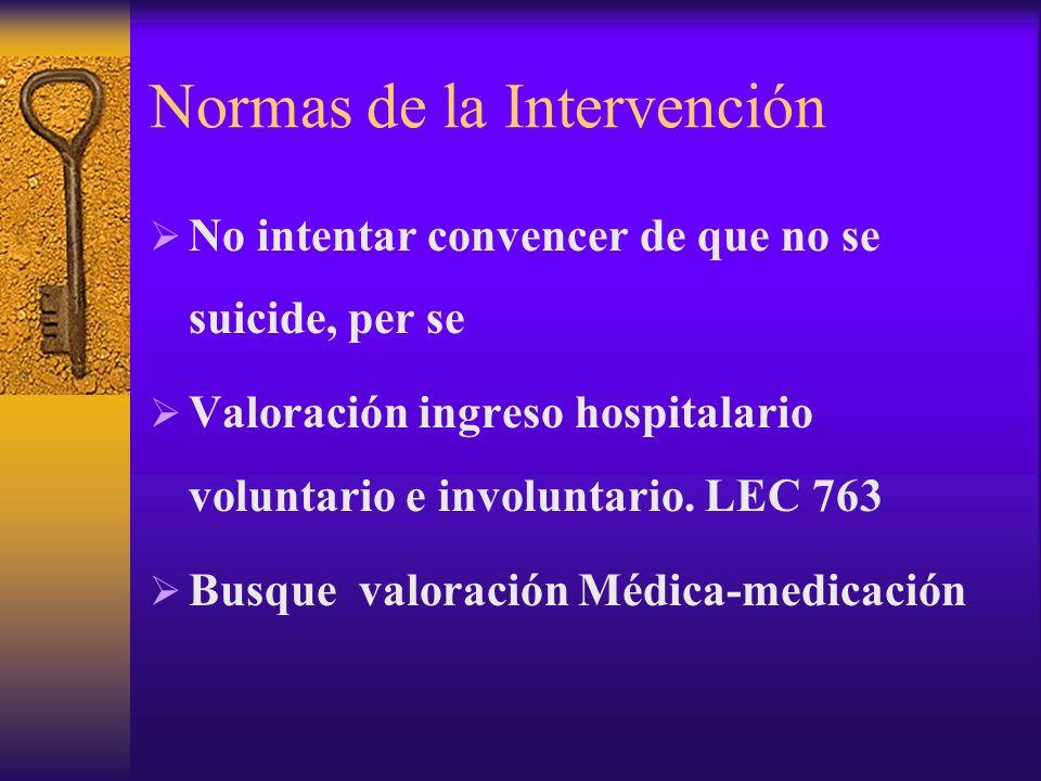 Normas de la Intervención No intentar convencer de que no se suicide, per se Valoración ingreso hospitalario voluntario e involuntario. LEC 763 Busque