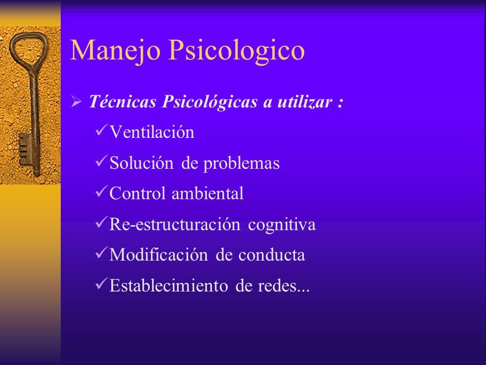 Manejo Psicologico Técnicas Psicológicas a utilizar : Ventilación Solución de problemas Control ambiental Re-estructuración cognitiva Modificación de