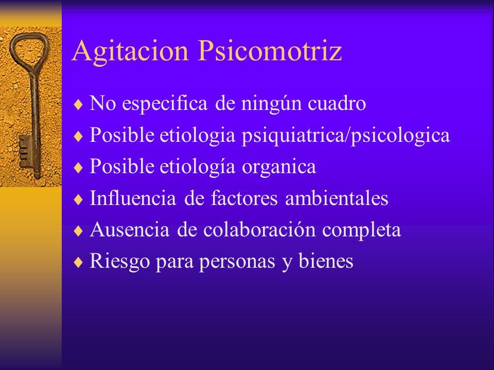 Agitacion Psicomotriz No especifica de ningún cuadro Posible etiologia psiquiatrica/psicologica Posible etiología organica Influencia de factores ambi