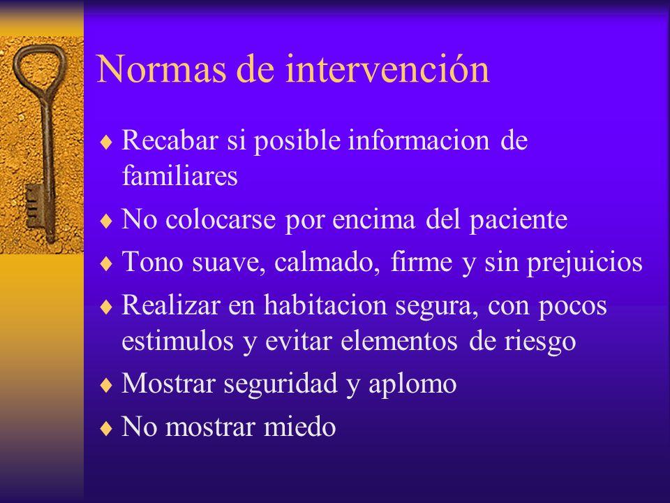 Normas de intervención Recabar si posible informacion de familiares No colocarse por encima del paciente Tono suave, calmado, firme y sin prejuicios R
