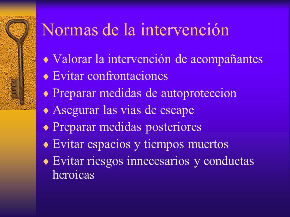 Normas de la intervención Valorar la intervención de acompañantes Evitar confrontaciones Preparar medidas de autoproteccion Asegurar las vias de escap