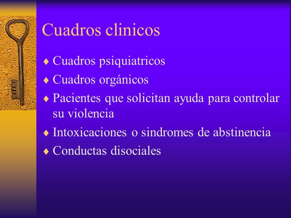 Cuadros clinicos Cuadros psiquiatricos Cuadros orgánicos Pacientes que solicitan ayuda para controlar su violencia Intoxicaciones o sindromes de absti