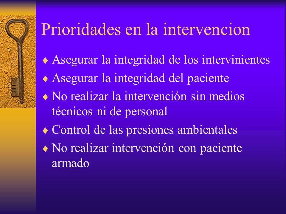Prioridades en la intervencion Asegurar la integridad de los intervinientes Asegurar la integridad del paciente No realizar la intervención sin medios