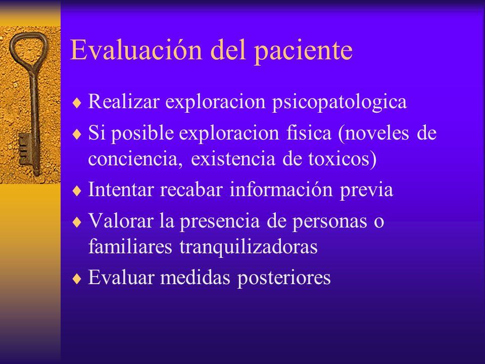 Evaluación del paciente Realizar exploracion psicopatologica Si posible exploracion fisica (noveles de conciencia, existencia de toxicos) Intentar rec
