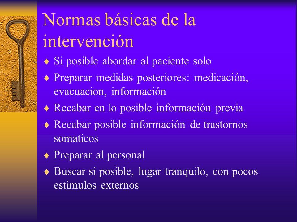 Normas básicas de la intervención Si posible abordar al paciente solo Preparar medidas posteriores: medicación, evacuacion, información Recabar en lo