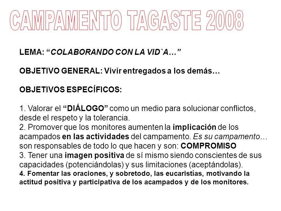 ORDEN DE SAN AGUSTIN (PROVINCIA DE ESPAÑA) COORDINADOR CAMPAMENTO TAGASTE I y II 2009 P.
