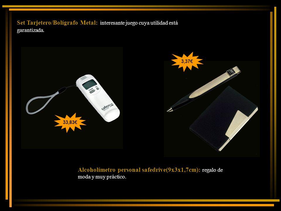 Set Tarjetero/Bolígrafo Metal: interesante juego cuya utilidad está garantizada. Alcoholímetro personal safedrive(9x3x1,7cm): regalo de moda y muy prá