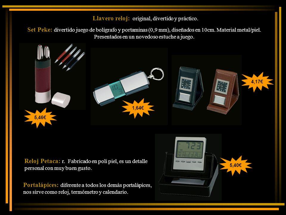 Llavero reloj: original, divertido y práctico. Set Peke: divertido juego de bolígrafo y portaminas (0,9 mm), diseñados en 10cm. Material metal/piel. P