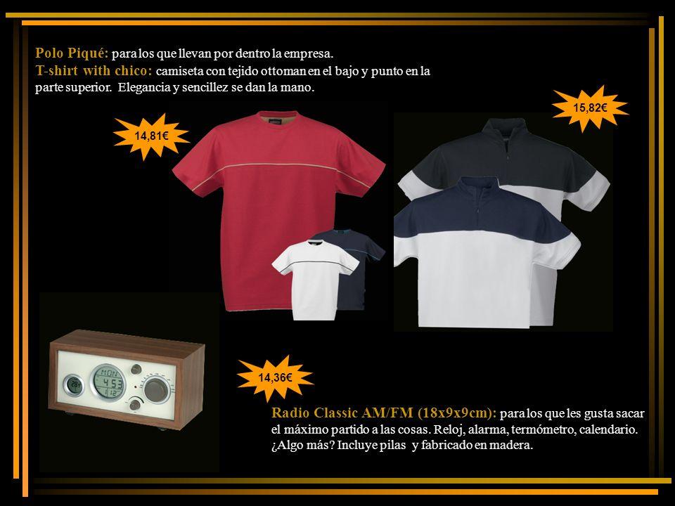 Polo Piqué: para los que llevan por dentro la empresa. T-shirt with chico: camiseta con tejido ottoman en el bajo y punto en la parte superior. Elegan