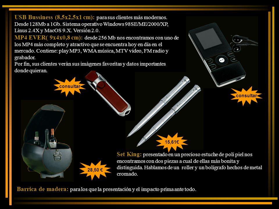 USB Bussiness (8,5x2,5x1 cm): para sus clientes más modernos.