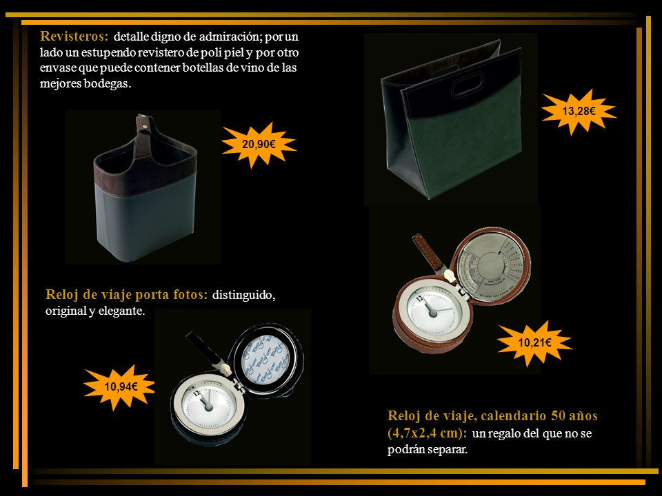 Reloj de viaje, calendario 50 años (4,7x2,4 cm): un regalo del que no se podrán separar. Revisteros: detalle digno de admiración; por un lado un estup