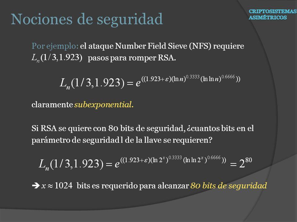 Nociones de seguridad Por ejemplo: el ataque Number Field Sieve (NFS) requiere pasos para romper RSA. claramente subexponential. Si RSA se quiere con