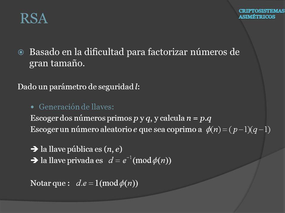 Basado en la dificultad para factorizar números de gran tamaño. Dado un parámetro de seguridad l: Generación de llaves: Escoger dos números primos p y