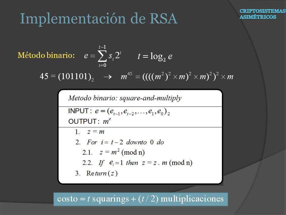 Método binario: Implementación de RSA