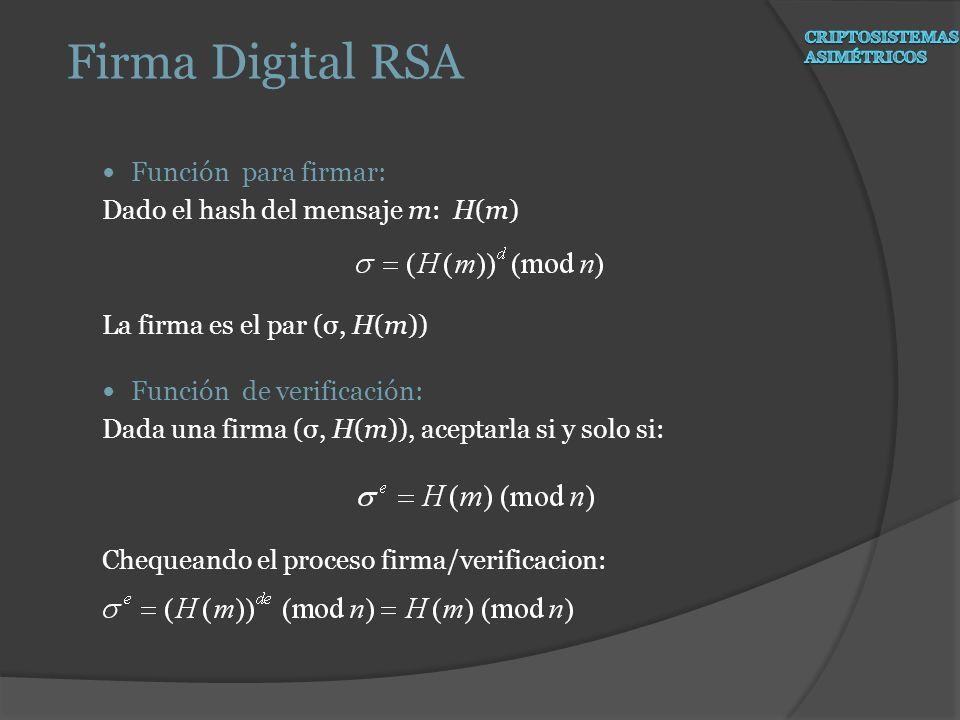 Función para firmar: Dado el hash del mensaje m: H(m) La firma es el par (σ, H(m)) Función de verificación: Dada una firma (σ, H(m)), aceptarla si y s