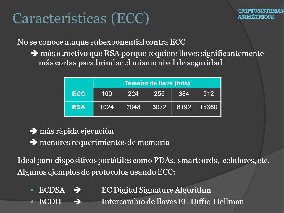 No se conoce ataque subexponential contra ECC más atractivo que RSA porque requiere llaves significantemente más cortas para brindar el mismo nivel de