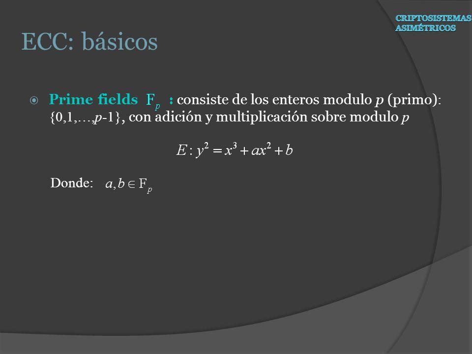Prime fields : consiste de los enteros modulo p (primo) : {0,1,…,p-1}, con adición y multiplicación sobre modulo p Donde: ECC: básicos