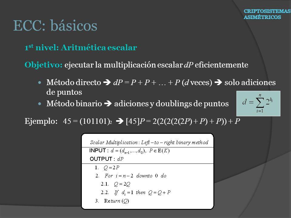 1 st nivel: Aritmética escalar Objetivo: ejecutar la multiplicación escalar dP eficientemente Método directo dP = P + P + … + P (d veces ) solo adicio
