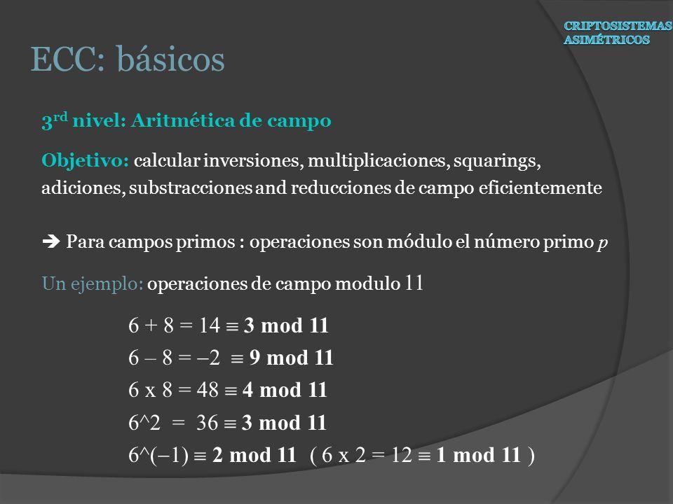 3 rd nivel: Aritmética de campo Objetivo: calcular inversiones, multiplicaciones, squarings, adiciones, substracciones and reducciones de campo eficie