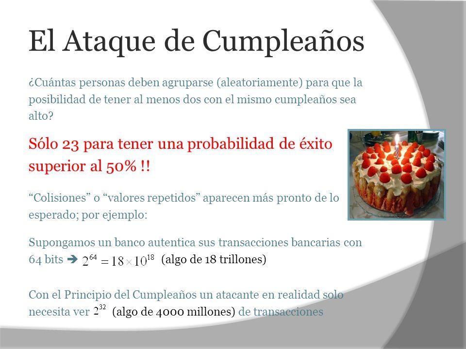 El Ataque de Cumpleaños ¿Cuántas personas deben agruparse (aleatoriamente) para que la posibilidad de tener al menos dos con el mismo cumpleaños sea a