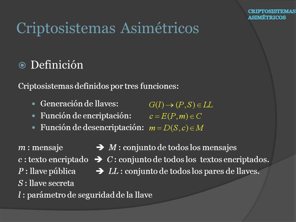 Definición Criptosistemas definidos por tres funciones: Generación de llaves: Función de encriptación: Función de desencriptación: m : mensaje M : con