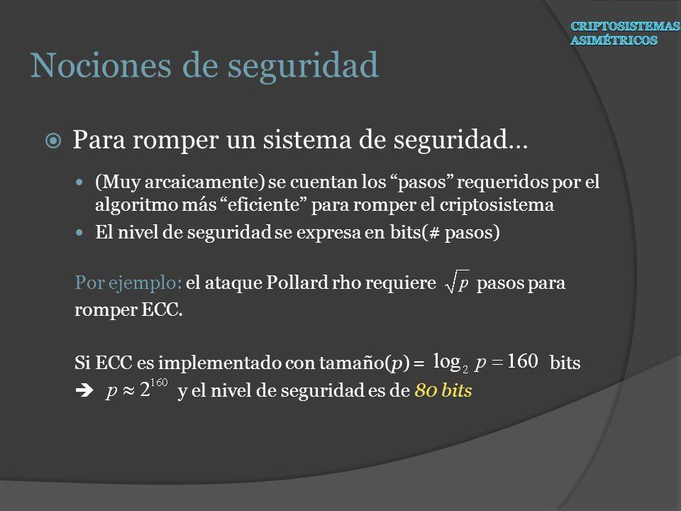 3 rd nivel: Aritmética de campo Objetivo: calcular inversiones, multiplicaciones, squarings, adiciones, substracciones and reducciones de campo eficientemente Para campos primos : operaciones son módulo el número primo p Un ejemplo: operaciones de campo modulo 11 6 + 8 = 14 3 mod 11 6 – 8 = - 2 9 mod 11 6 x 8 = 48 4 mod 11 6^2 = 36 3 mod 11 6^( - 1) 2 mod 11 ( 6 x 2 = 12 1 mod 11 ) ECC: básicos