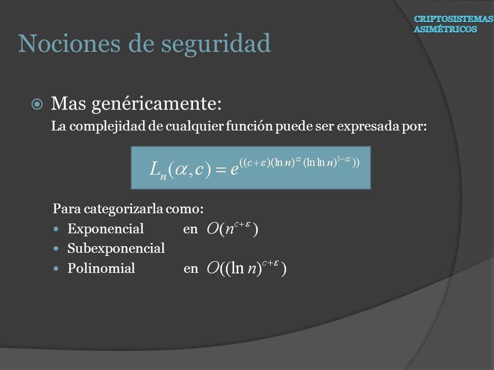 Nociones de seguridad Mas genéricamente: La complejidad de cualquier función puede ser expresada por: Para categorizarla como: Exponencial en Subexpon