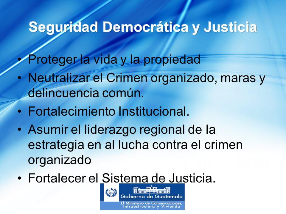 Proteger la vida y la propiedad Neutralizar el Crimen organizado, maras y delincuencia común.