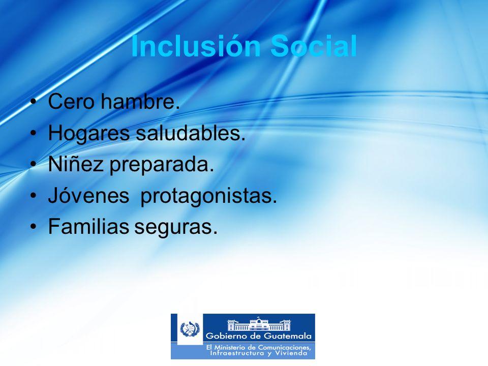 Inclusión Social Cero hambre. Hogares saludables.
