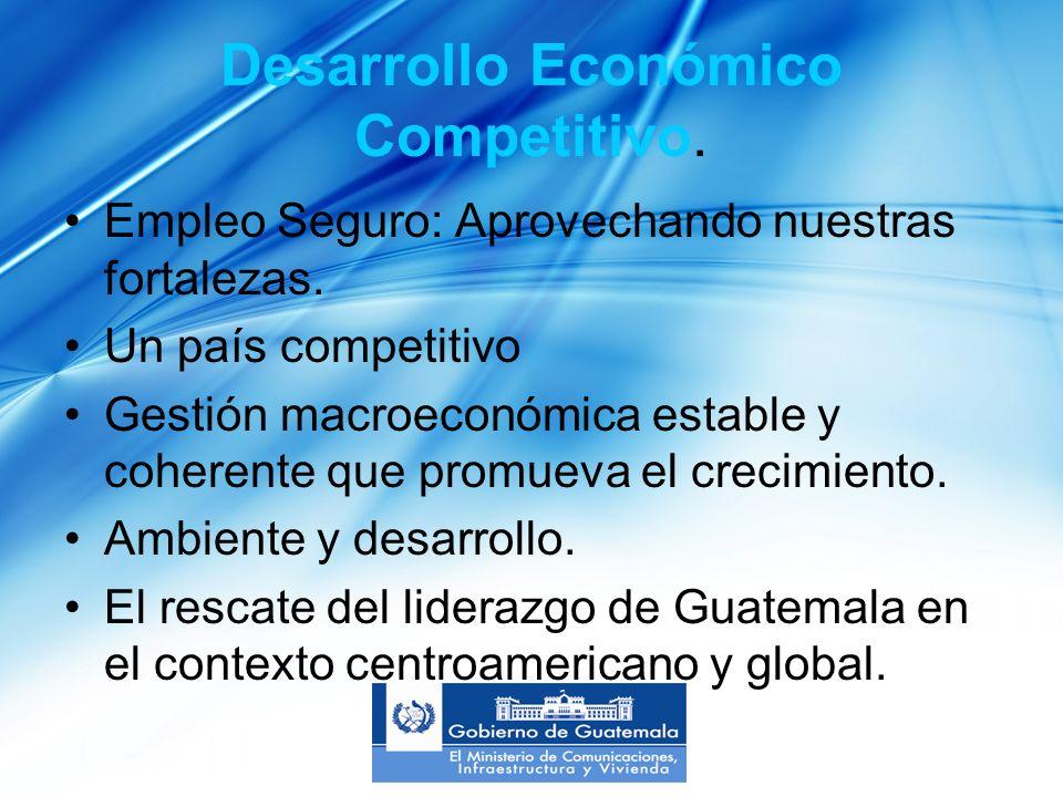 Desarrollo Económico Competitivo. Empleo Seguro: Aprovechando nuestras fortalezas.