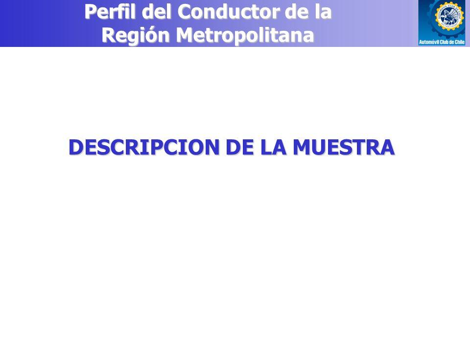 Perfil del Conductor de la Región Metropolitana DESCRIPCION DE LA MUESTRA