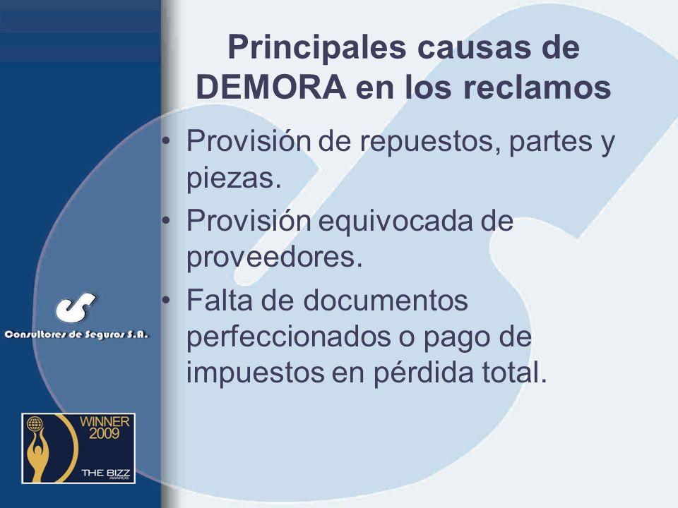 Principales causas de RECHAZO de los reclamos Falta de denuncia a las autoridades Falta de test de alcoholemia Falta de medidas de seguridad Falta de