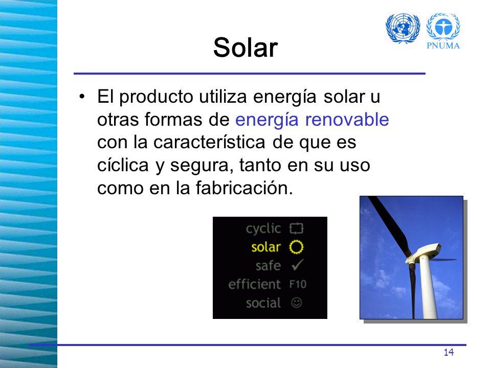 14 Solar El producto utiliza energía solar u otras formas de energía renovable con la característica de que es cíclica y segura, tanto en su uso como en la fabricación.