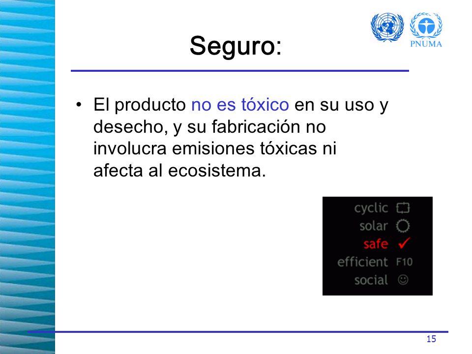 15 El producto no es tóxico en su uso y desecho, y su fabricación no involucra emisiones tóxicas ni afecta al ecosistema.