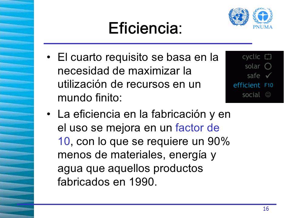16 Eficiencia: El cuarto requisito se basa en la necesidad de maximizar la utilización de recursos en un mundo finito: La eficiencia en la fabricación y en el uso se mejora en un factor de 10, con lo que se requiere un 90% menos de materiales, energía y agua que aquellos productos fabricados en 1990.