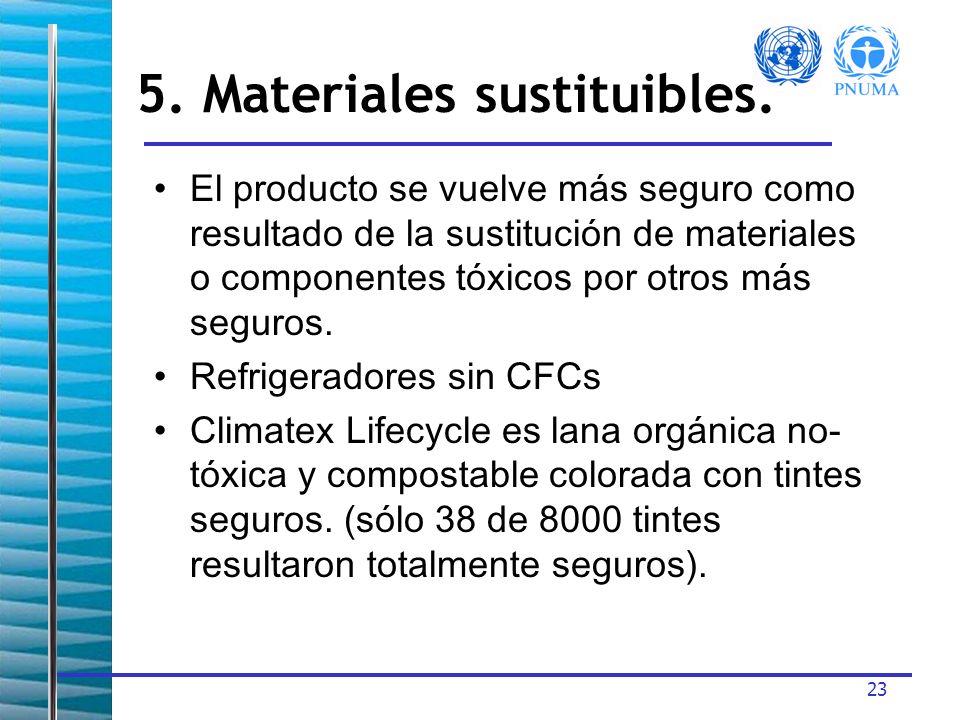23 El producto se vuelve más seguro como resultado de la sustitución de materiales o componentes tóxicos por otros más seguros.