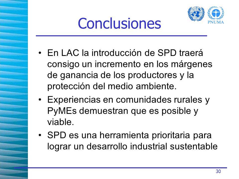 30 Conclusiones En LAC la introducción de SPD traerá consigo un incremento en los márgenes de ganancia de los productores y la protección del medio ambiente.