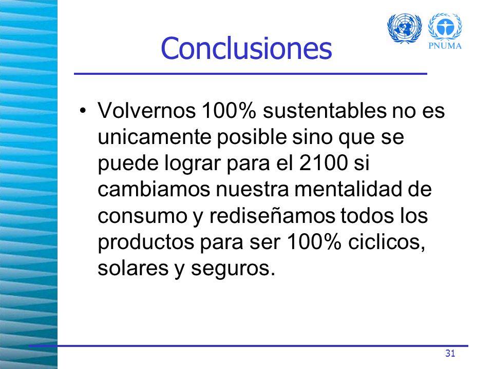 31 Conclusiones Volvernos 100% sustentables no es unicamente posible sino que se puede lograr para el 2100 si cambiamos nuestra mentalidad de consumo y rediseñamos todos los productos para ser 100% ciclicos, solares y seguros.