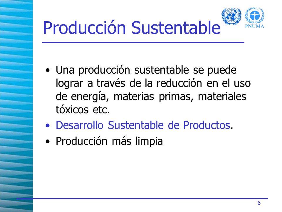6 Producción Sustentable Una producción sustentable se puede lograr a través de la reducción en el uso de energía, materias primas, materiales tóxicos etc.