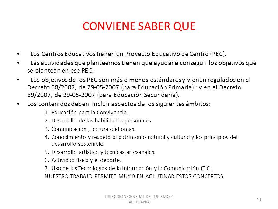 DIRECCION GENERAL DE TURISMO Y ARTESANÍA 11 CONVIENE SABER QUE Los Centros Educativos tienen un Proyecto Educativo de Centro (PEC). Las actividades qu