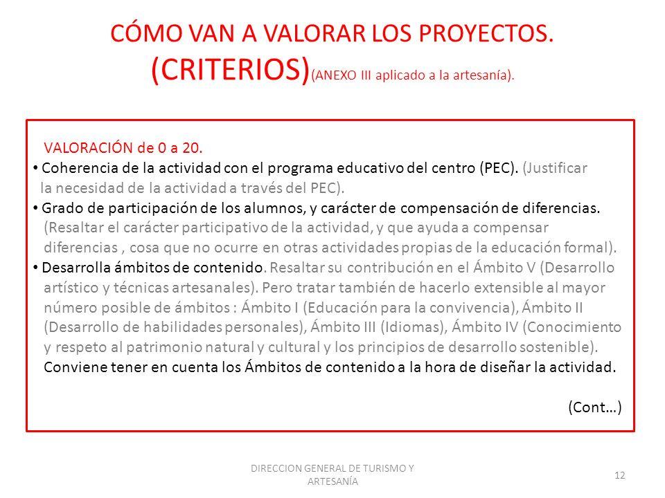 DIRECCION GENERAL DE TURISMO Y ARTESANÍA 12 CÓMO VAN A VALORAR LOS PROYECTOS. (CRITERIOS) (ANEXO III aplicado a la artesanía). VALORACIÓN de 0 a 20. C