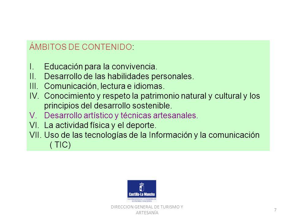DIRECCION GENERAL DE TURISMO Y ARTESANÍA 7 ÁMBITOS DE CONTENIDO: I.Educación para la convivencia. II.Desarrollo de las habilidades personales. III.Com