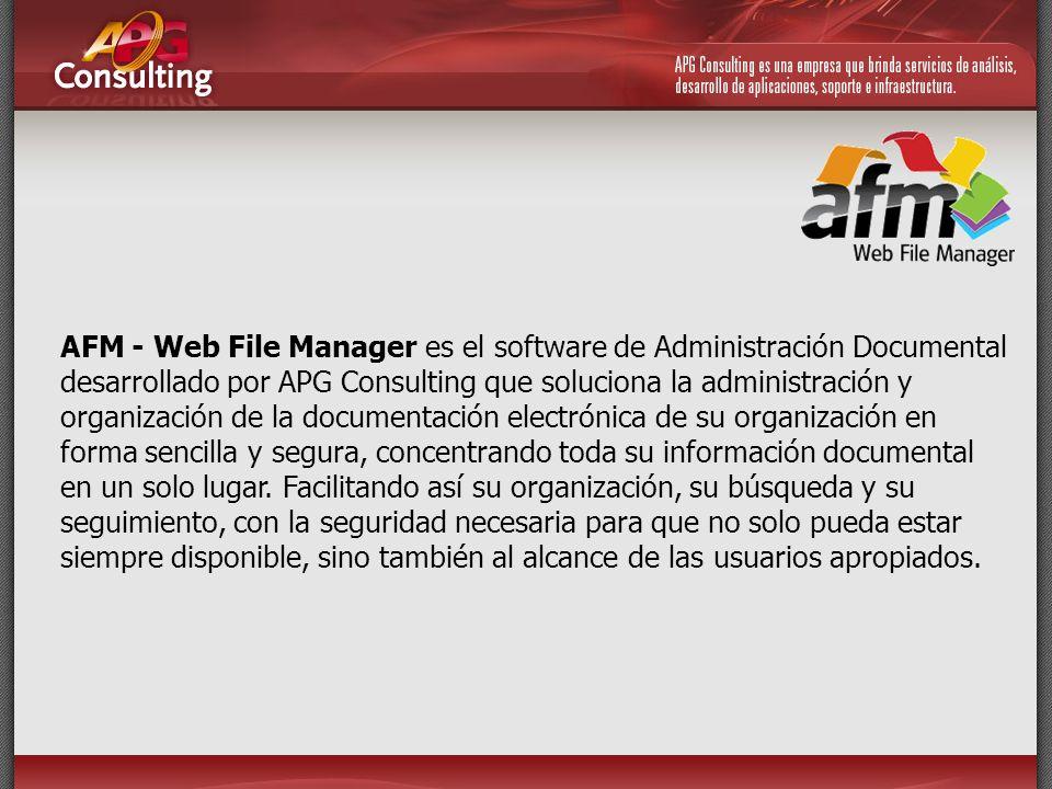 AFM - Web File Manager es el software de Administración Documental desarrollado por APG Consulting que soluciona la administración y organización de l