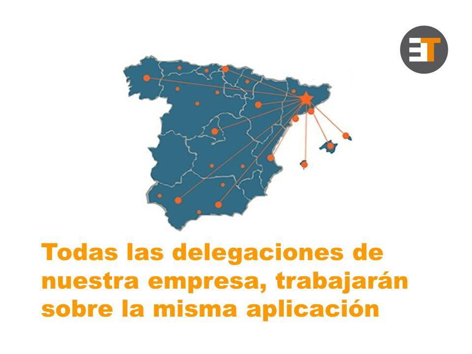 Todas las delegaciones de nuestra empresa, trabajarán sobre la misma aplicación