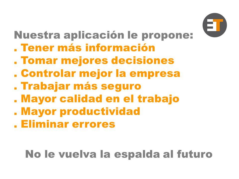 Nuestra aplicación le propone:. Tener más información.