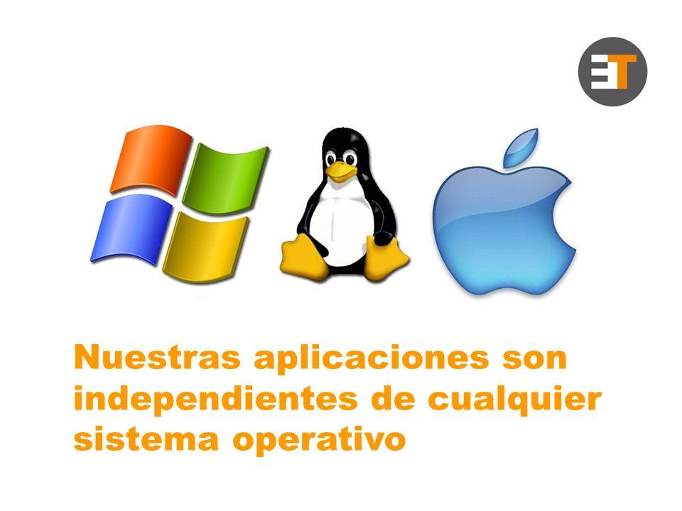 Nuestras aplicaciones son independientes de cualquier sistema operativo